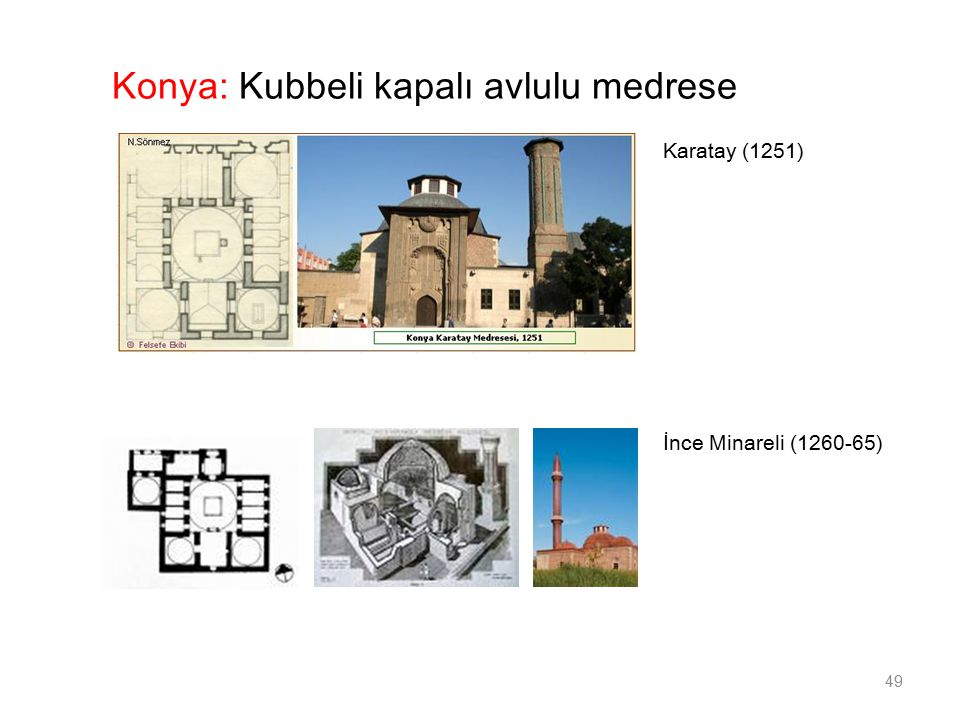 İnce Minareli (1260-65) 49 Konya: Kubbeli kapalı avlulu medrese Karatay (1251)