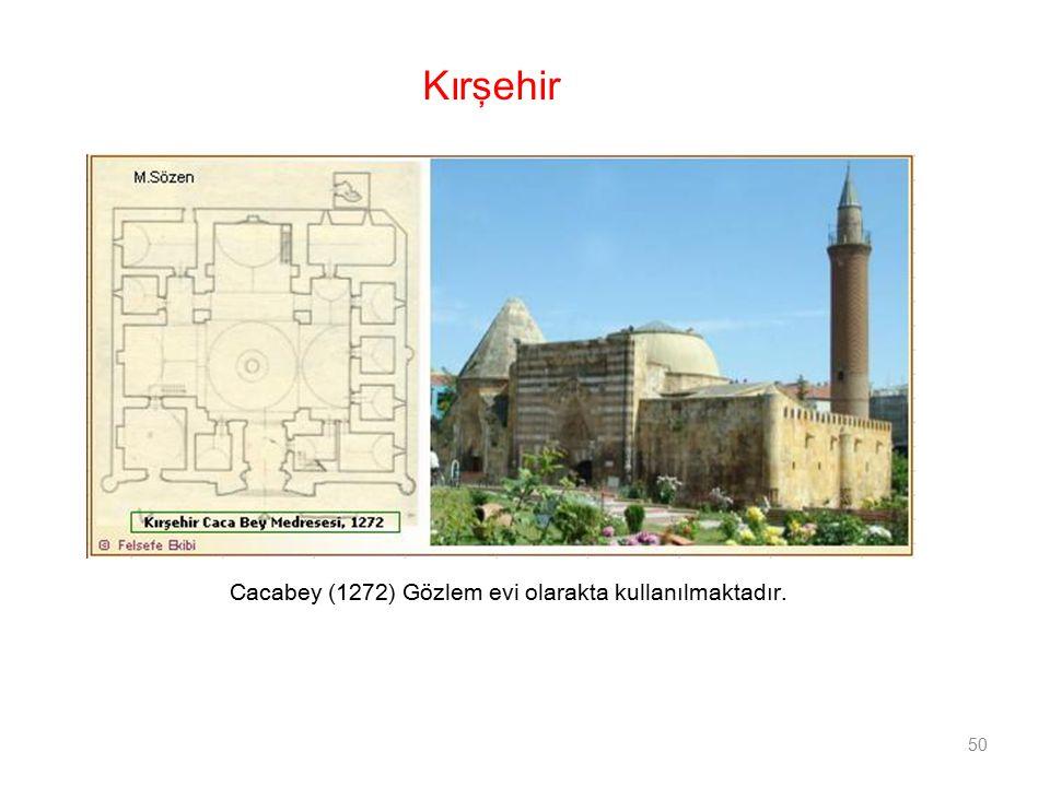 Cacabey (1272) Gözlem evi olarakta kullanılmaktadır. 50 Kırşehir