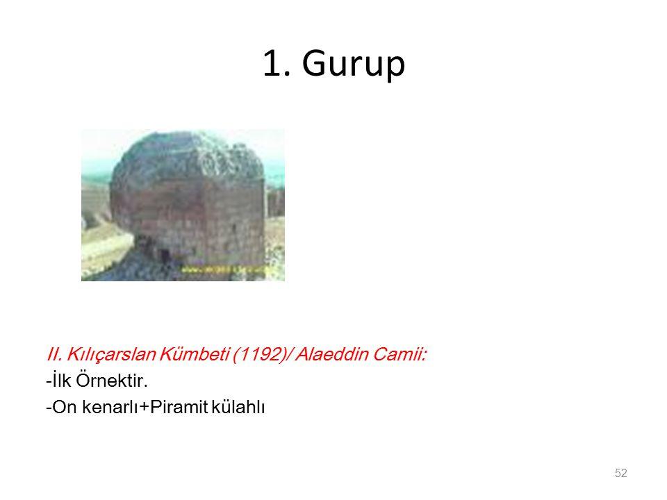 1.Gurup II. Kılıçarslan Kümbeti (1192)/ Alaeddin Camii: -İlk Örnektir.