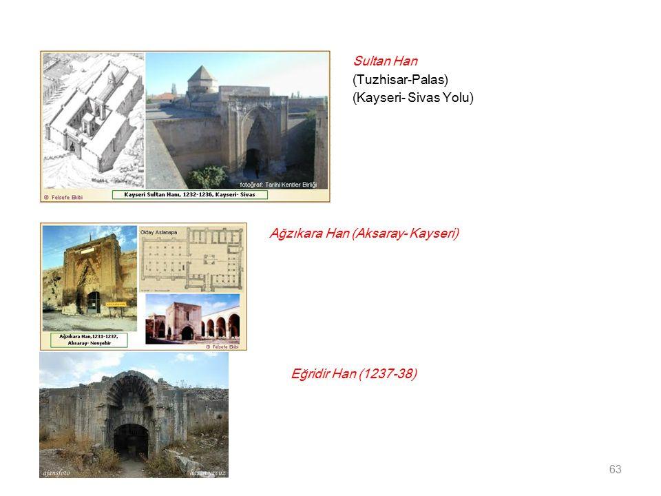 Sultan Han (Tuzhisar-Palas) (Kayseri- Sivas Yolu) 63 Ağzıkara Han (Aksaray- Kayseri) Eğridir Han (1237-38)