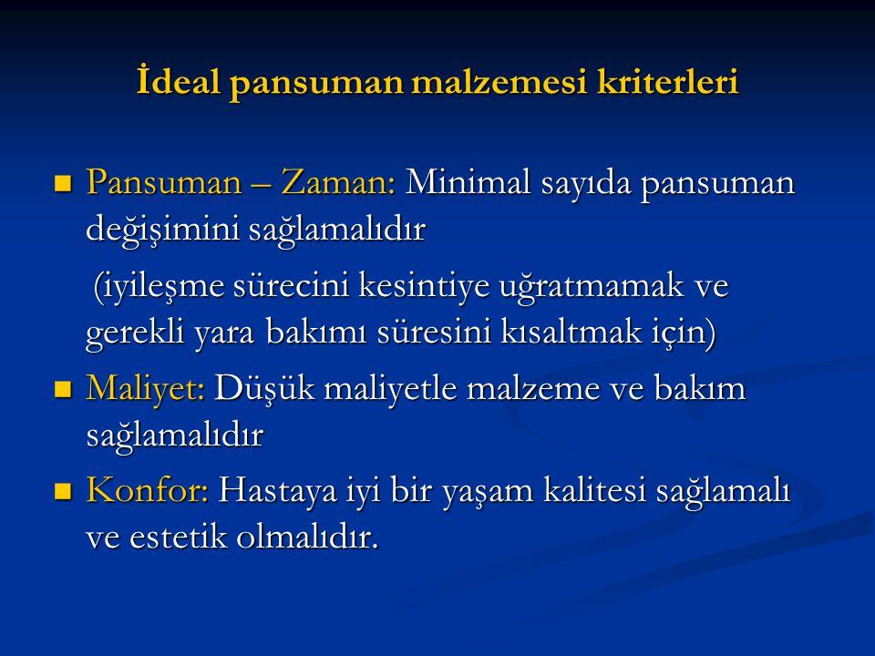 İdeal pansuman malzemesi kriterleri Pansuman – Zaman: Minimal sayıda pansuman değişimini sağlamalıdır Pansuman – Zaman: Minimal sayıda pansuman değişi