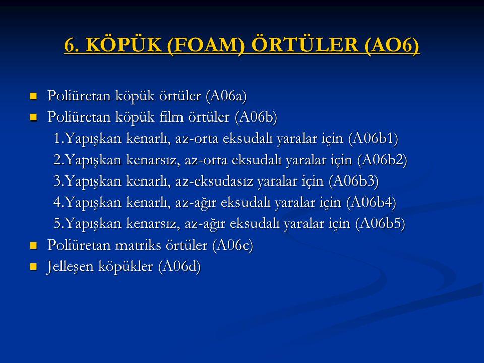 6. KÖPÜK (FOAM) ÖRTÜLER (AO6) Poliüretan köpük örtüler (A06a) Poliüretan köpük örtüler (A06a) Poliüretan köpük film örtüler (A06b) Poliüretan köpük fi