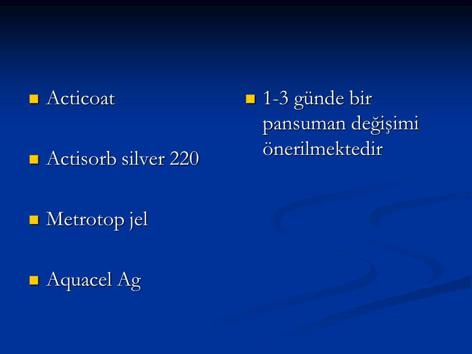 Acticoat Acticoat Actisorb silver 220 Actisorb silver 220 Metrotop jel Metrotop jel Aquacel Ag Aquacel Ag 1-3 günde bir pansuman değişimi önerilmekted