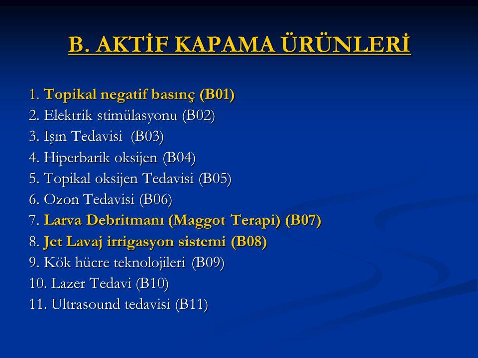 B.AKTİF KAPAMA ÜRÜNLERİ 1. Topikal negatif basınç (B01) 2.