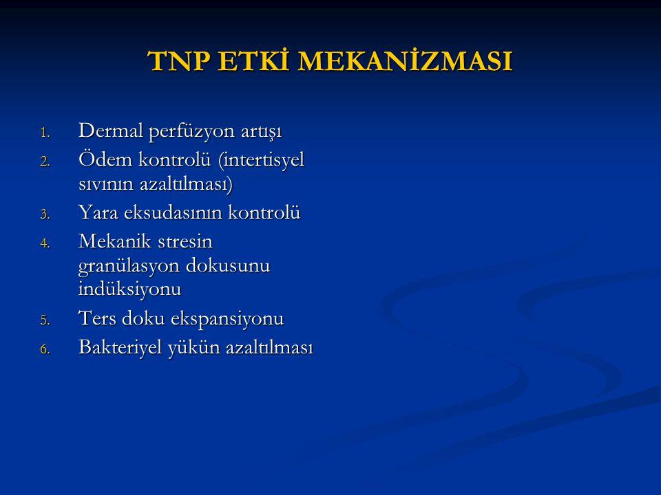 TNP ETKİ MEKANİZMASI 1. Dermal perfüzyon artışı 2. Ödem kontrolü (intertisyel sıvının azaltılması) 3. Yara eksudasının kontrolü 4. Mekanik stresin gra