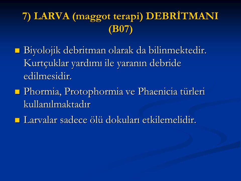 7) LARVA (maggot terapi) DEBRİTMANI (B07) Biyolojik debritman olarak da bilinmektedir. Kurtçuklar yardımı ile yaranın debride edilmesidir. Biyolojik d