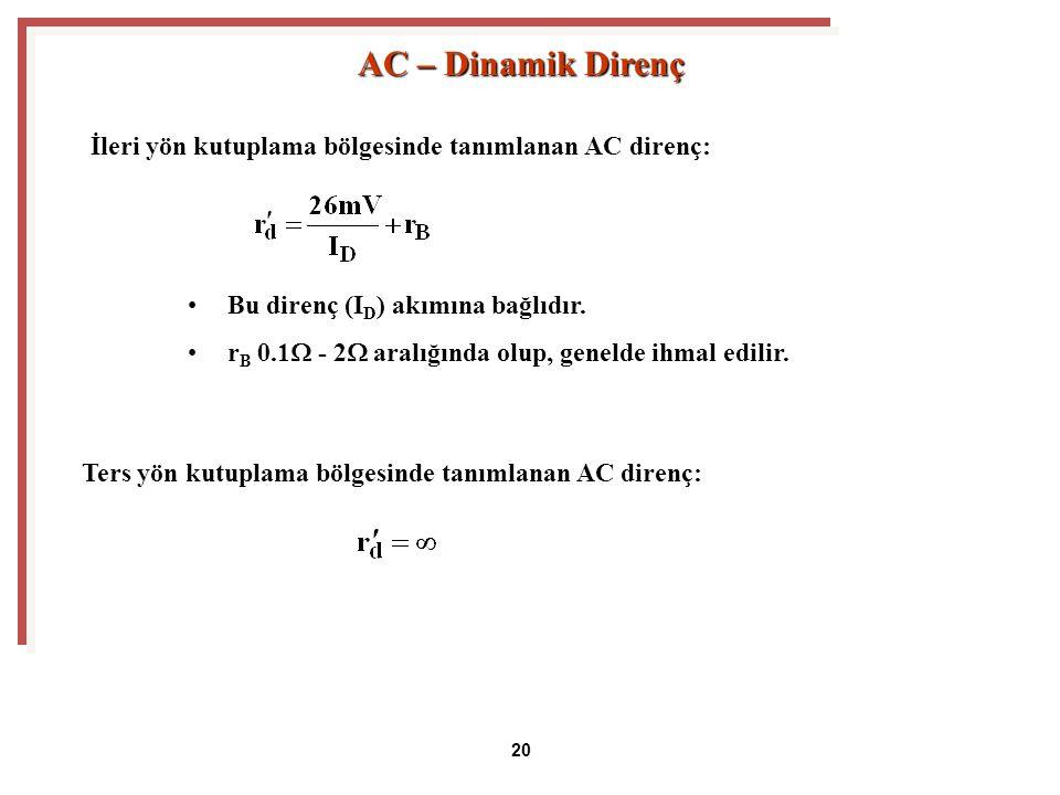 Bu direnç (I D ) akımına bağlıdır.r B 0.1  - 2  aralığında olup, genelde ihmal edilir.