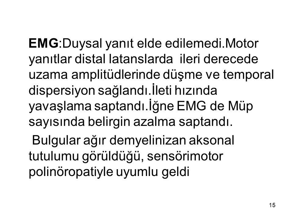 EMG:Duysal yanıt elde edilemedi.Motor yanıtlar distal latanslarda ileri derecede uzama amplitüdlerinde düşme ve temporal dispersiyon sağlandı.İleti hı