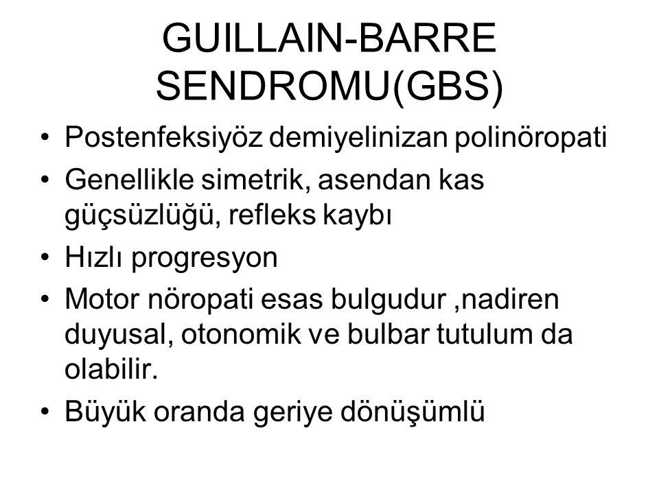 GUILLAIN-BARRE SENDROMU(GBS) Postenfeksiyöz demiyelinizan polinöropati Genellikle simetrik, asendan kas güçsüzlüğü, refleks kaybı Hızlı progresyon Mot
