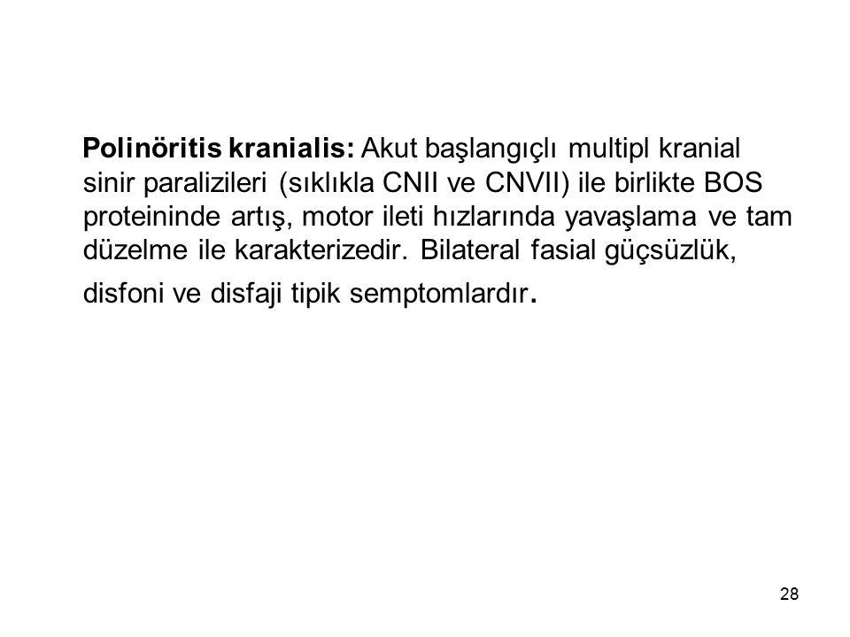 Polinöritis kranialis: Akut başlangıçlı multipl kranial sinir paralizileri (sıklıkla CNII ve CNVII) ile birlikte BOS proteininde artış, motor ileti hı
