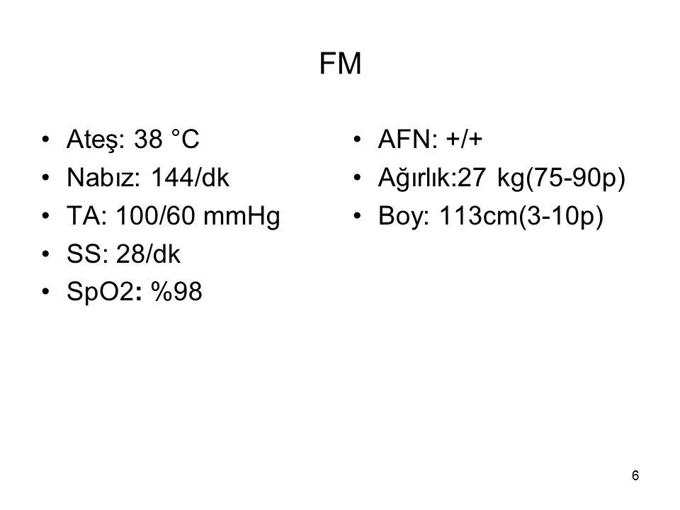 6 FM Ateş: 38 °C Nabız: 144/dk TA: 100/60 mmHg SS: 28/dk SpO2: %98 AFN: +/+ Ağırlık:27 kg(75-90p) Boy: 113cm(3-10p)