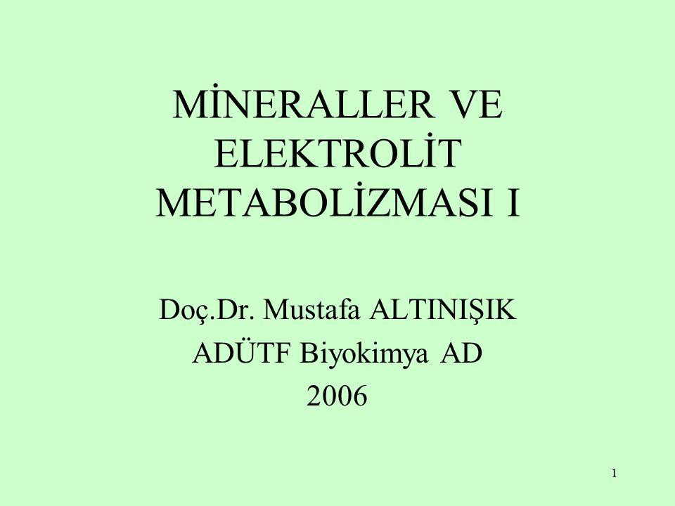 2 Sodyum (Na) Potasyum (K) Klor (Cl) Magnezyum (Mg) Kalsiyum (Ca) Fosfor (P) Bakır (Cu) Demir (Fe) Çinko (Zn) Kobalt (Co) Molibden (Mo) Manganez (Mn) Kadmiyum (Cd) Lityum (Li) Selenyum (Se) Krom (Cr) Nikel (Ni) Vanadyum (V) Arsenik (As) Silisyum (Si) Bor (B) Kükürt (S) İyot (I) Flüor (F) Mineraller Na +, K +, Ca 2+, Mg 2+, Cl , HCO 3 , HPO 4 2  önemli elektrolitlerdir.
