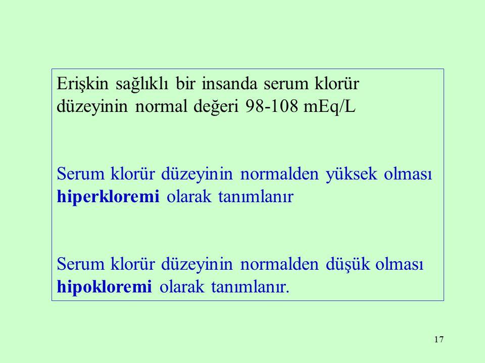 17 Erişkin sağlıklı bir insanda serum klorür düzeyinin normal değeri 98-108 mEq/L Serum klorür düzeyinin normalden yüksek olması hiperkloremi olarak t