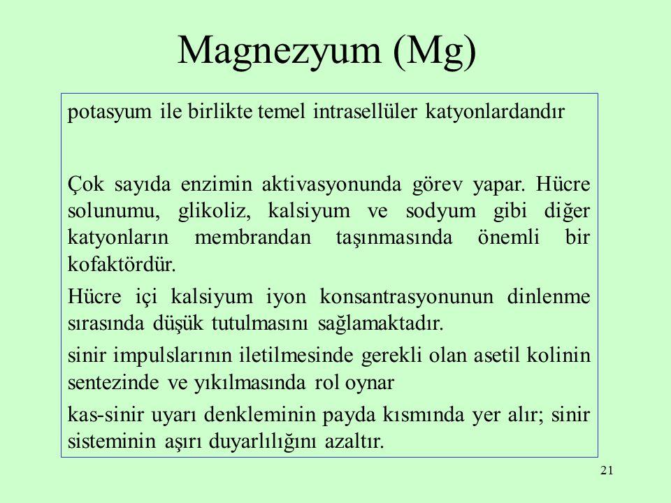 21 Magnezyum (Mg) potasyum ile birlikte temel intrasellüler katyonlardandır Çok sayıda enzimin aktivasyonunda görev yapar. Hücre solunumu, glikoliz, k