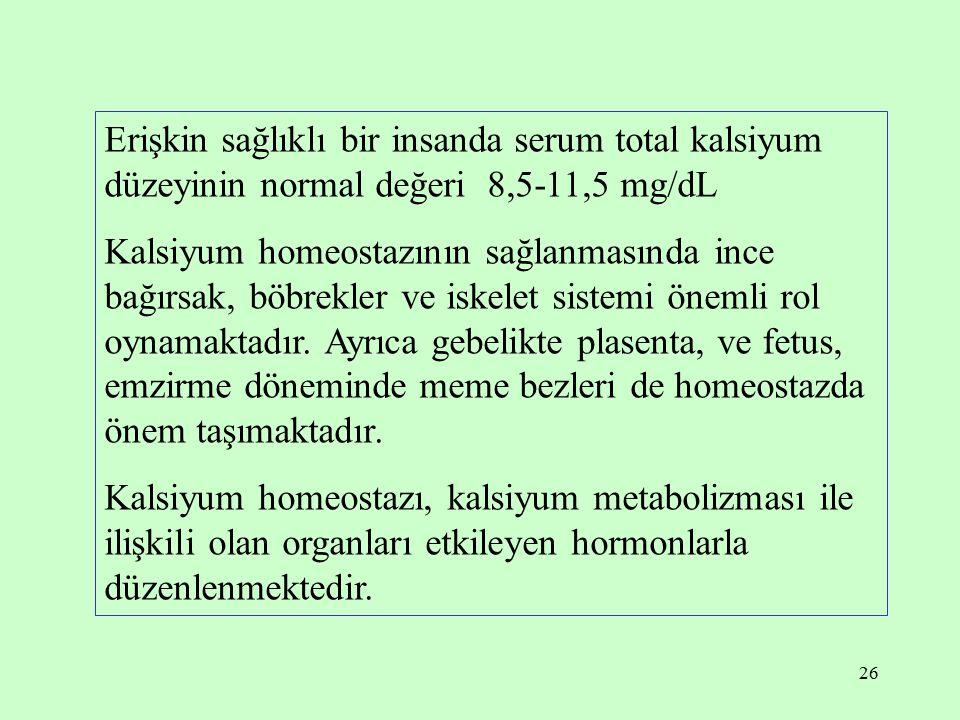 26 Erişkin sağlıklı bir insanda serum total kalsiyum düzeyinin normal değeri 8,5-11,5 mg/dL Kalsiyum homeostazının sağlanmasında ince bağırsak, böbrek