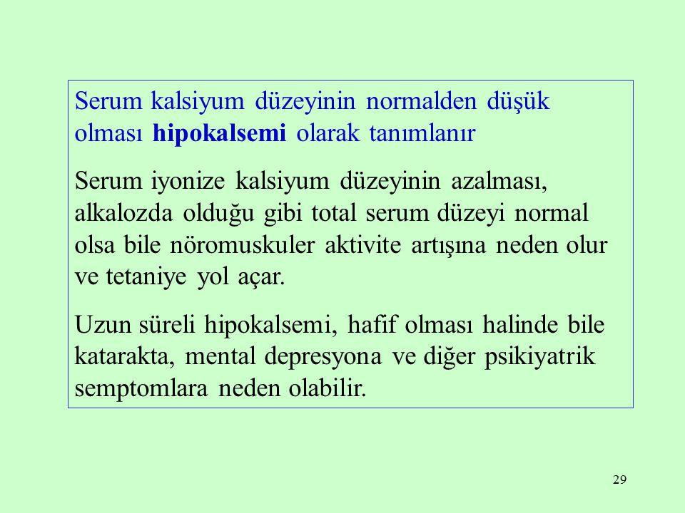 29 Serum kalsiyum düzeyinin normalden düşük olması hipokalsemi olarak tanımlanır Serum iyonize kalsiyum düzeyinin azalması, alkalozda olduğu gibi tota