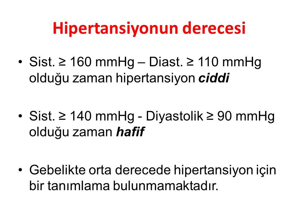 Hipertansiyonun derecesi Sist. ≥ 160 mmHg – Diast. ≥ 110 mmHg olduğu zaman hipertansiyon ciddi Sist. ≥ 140 mmHg - Diyastolik ≥ 90 mmHg olduğu zaman ha