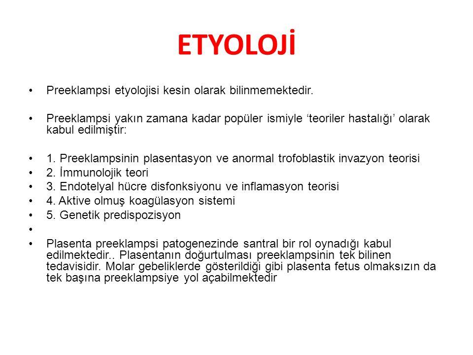 ETYOLOJİ Preeklampsi etyolojisi kesin olarak bilinmemektedir. Preeklampsi yakın zamana kadar popüler ismiyle 'teoriler hastalığı' olarak kabul edilmiş