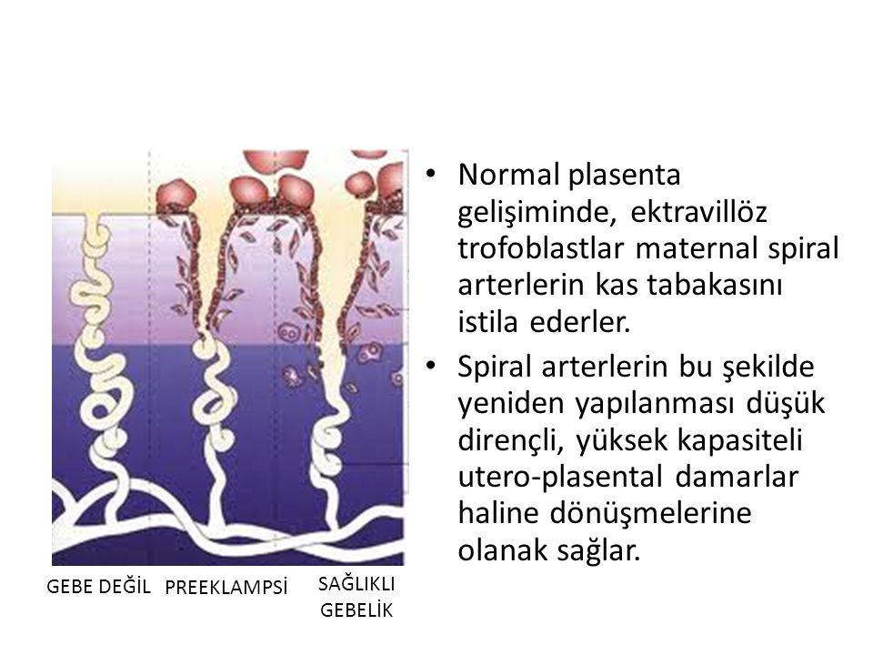 Normal plasenta gelişiminde, ektravillöz trofoblastlar maternal spiral arterlerin kas tabakasını istila ederler. Spiral arterlerin bu şekilde yeniden