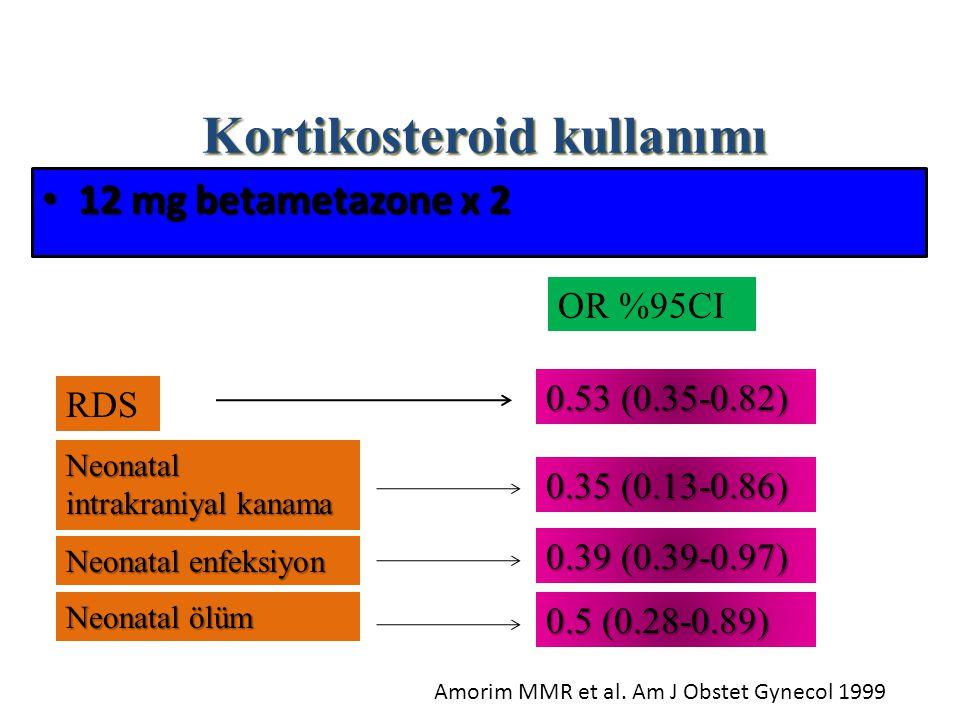 12 mg betametazone x 2 12 mg betametazone x 2 RDS Neonatal intrakraniyal kanama Neonatal enfeksiyon Neonatal ölüm OR %95CI 0.53 (0.35-0.82) 0.35 (0.13-0.86) 0.39 (0.39-0.97) 0.5 (0.28-0.89) Amorim MMR et al.