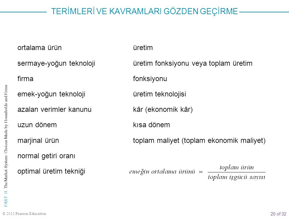 20 of 32 PART II The Market System: Choices Made by Households and Firms © 2012 Pearson Education ortalama ürün sermaye-yoğun teknoloji firma emek-yoğ
