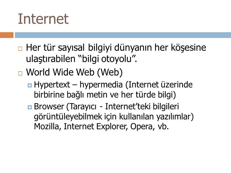 Internet  Her tür sayısal bilgiyi dünyanın her köşesine ulaştırabilen bilgi otoyolu .