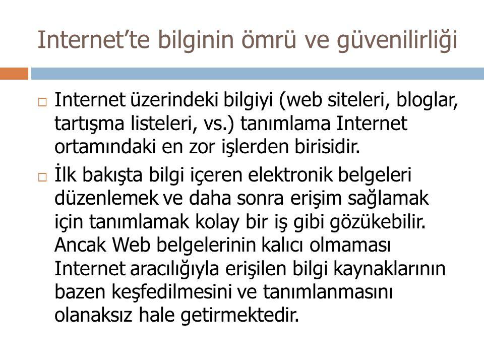 Internet'te bilginin ömrü ve güvenilirliği  Internet üzerindeki bilgiyi (web siteleri, bloglar, tartışma listeleri, vs.) tanımlama Internet ortamındaki en zor işlerden birisidir.