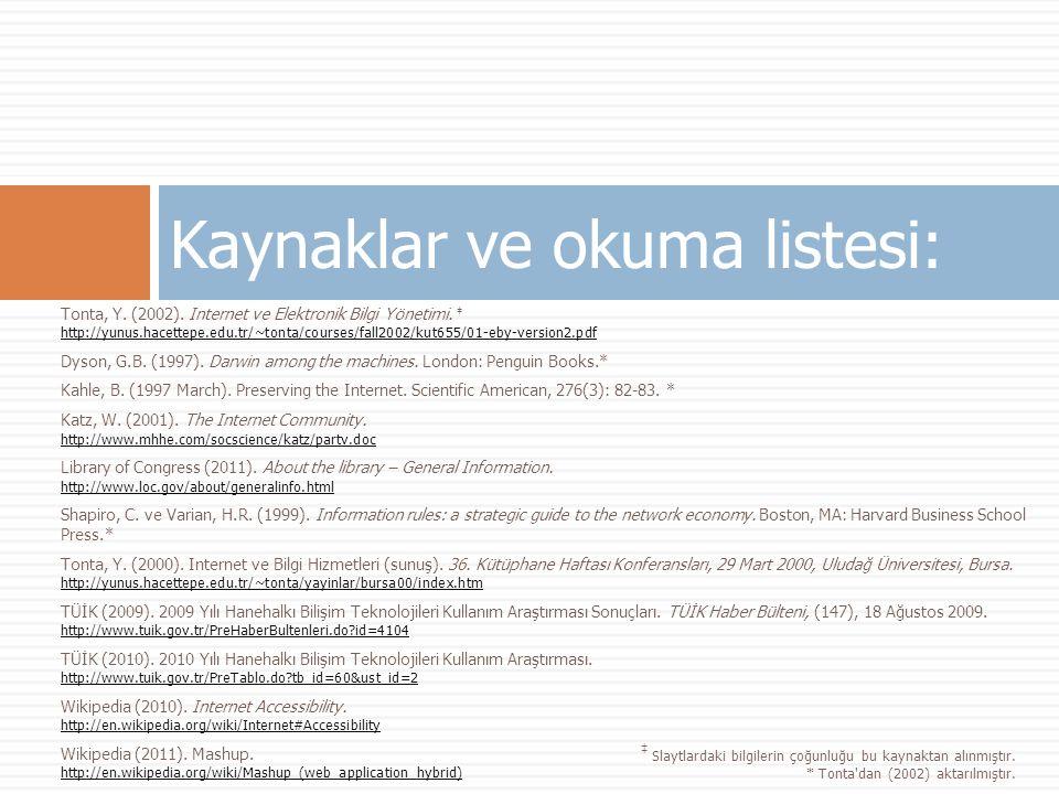 Tonta, Y. (2002). Internet ve Elektronik Bilgi Yönetimi.