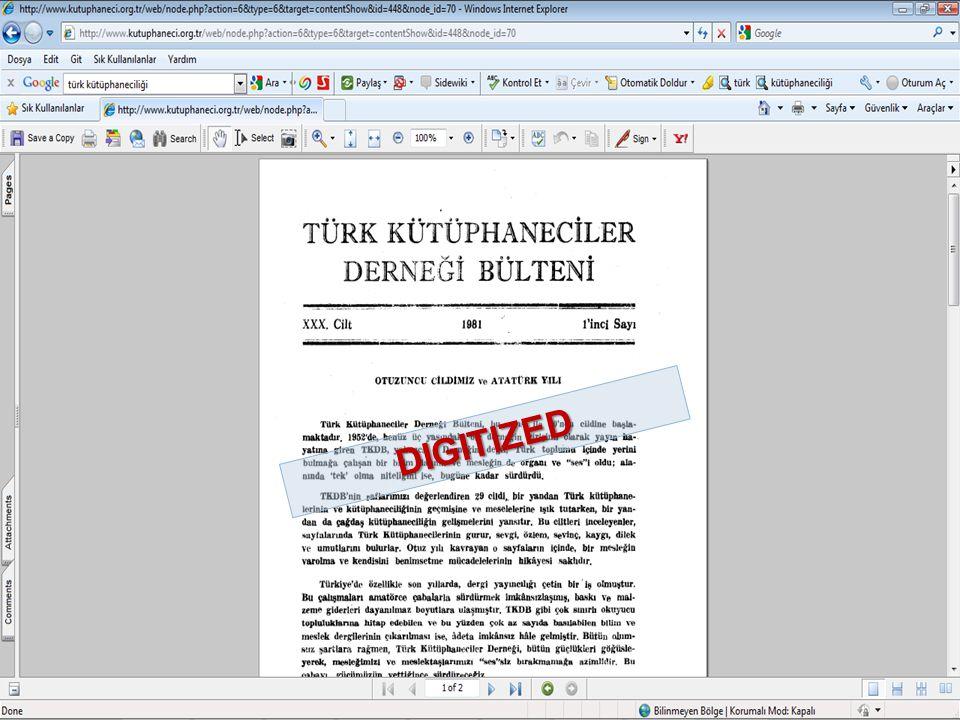 Tonta, Y.(2002). Internet ve Elektronik Bilgi Yönetimi.