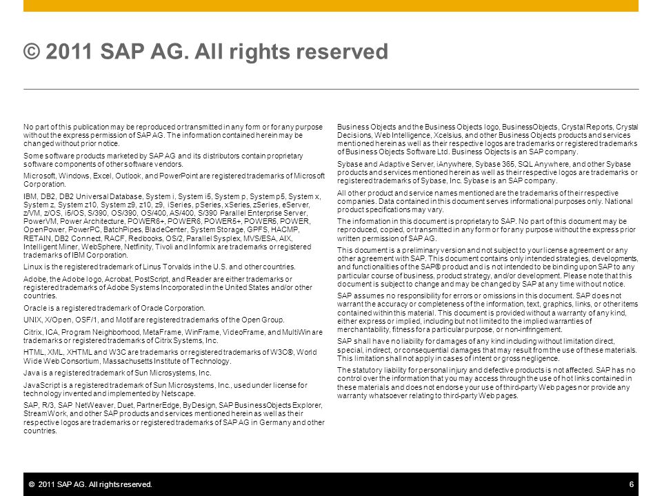 ©2011 SAP AG. All rights reserved.6 No part of this publication may be reproduced or transmitted in any form or for any purpose without the express pe