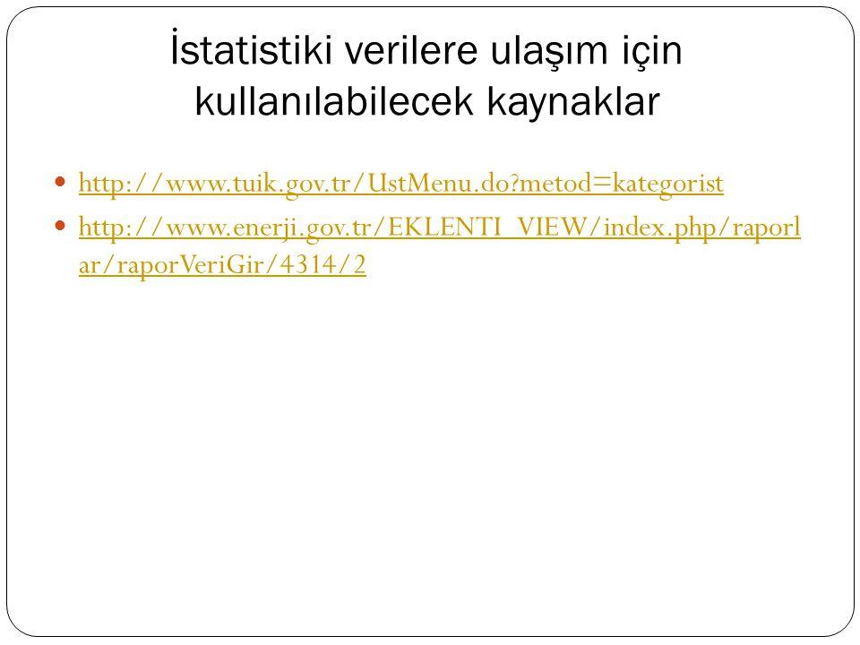 İstatistiki verilere ulaşım için kullanılabilecek kaynaklar http://www.tuik.gov.tr/UstMenu.do?metod=kategorist http://www.enerji.gov.tr/EKLENTI_VIEW/index.php/raporl ar/raporVeriGir/4314/2 http://www.enerji.gov.tr/EKLENTI_VIEW/index.php/raporl ar/raporVeriGir/4314/2