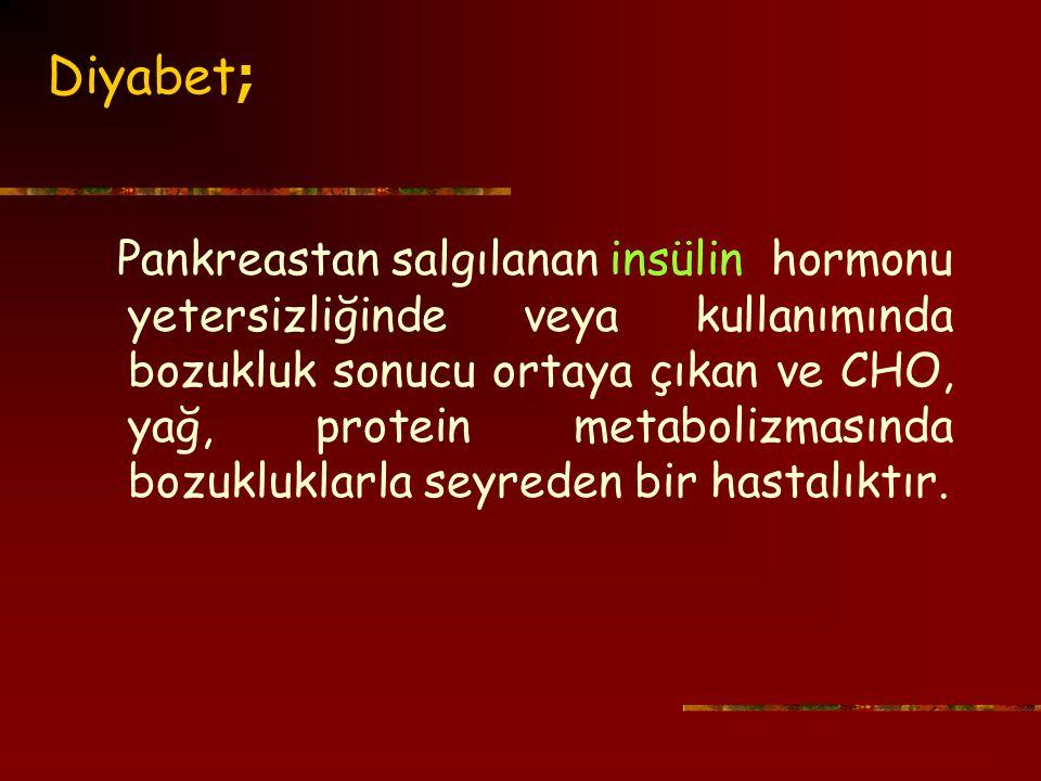 Diyabet ; Pankreastan salgılananinsülin hormonu yetersizliğinde veya kullanımında bozukluk sonucu ortaya çıkan ve CHO, yağ, protein metabolizmasında bozukluklarla seyreden bir hastalıktır.