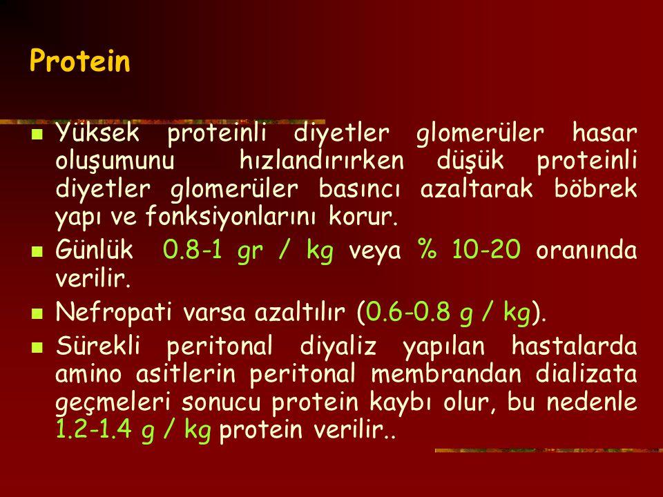 Protein Yüksek proteinli diyetler glomerüler hasar oluşumunu hızlandırırken düşük proteinli diyetler glomerüler basıncı azaltarak böbrek yapı ve fonksiyonlarını korur.