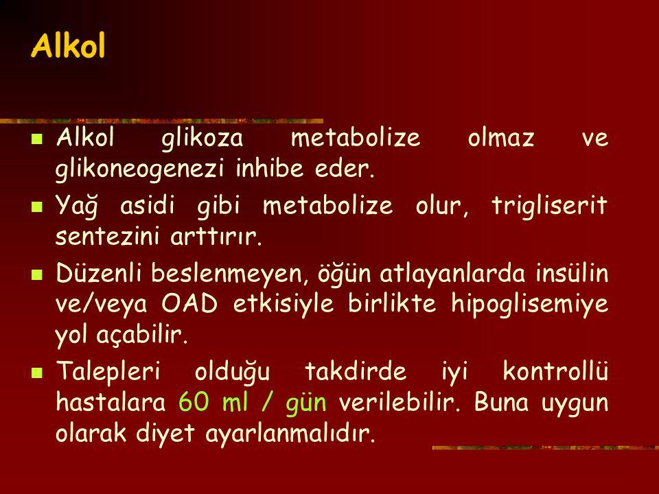 Alkol Alkol glikoza metabolize olmaz ve glikoneogenezi inhibe eder.