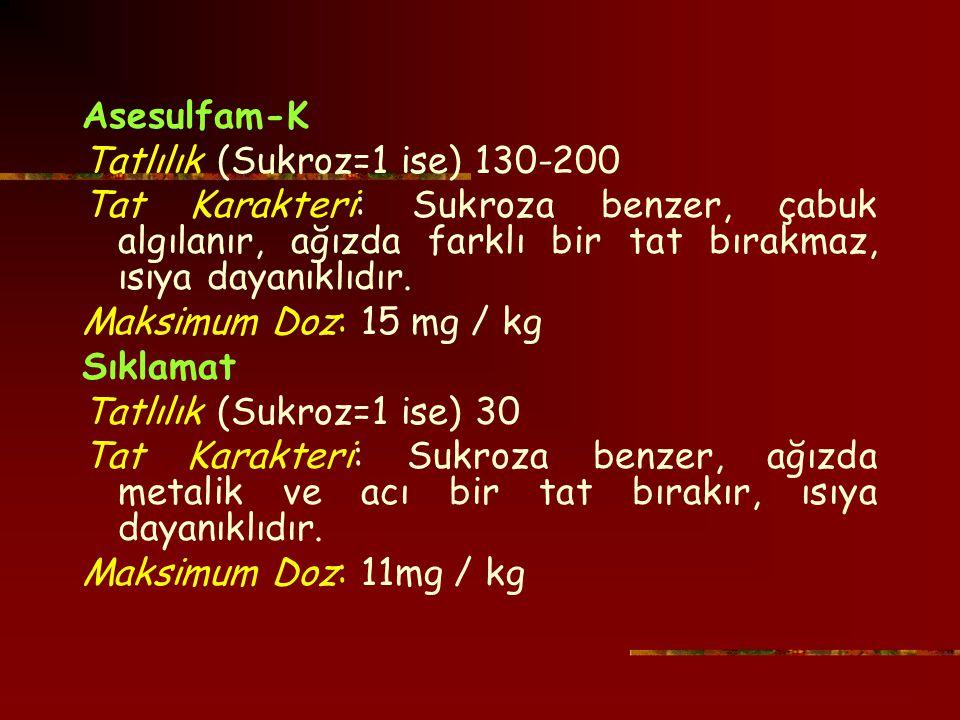 Asesulfam-K Tatlılık (Sukroz=1 ise) 130-200 Tat Karakteri: Sukroza benzer, çabuk algılanır, ağızda farklı bir tat bırakmaz, ısıya dayanıklıdır.