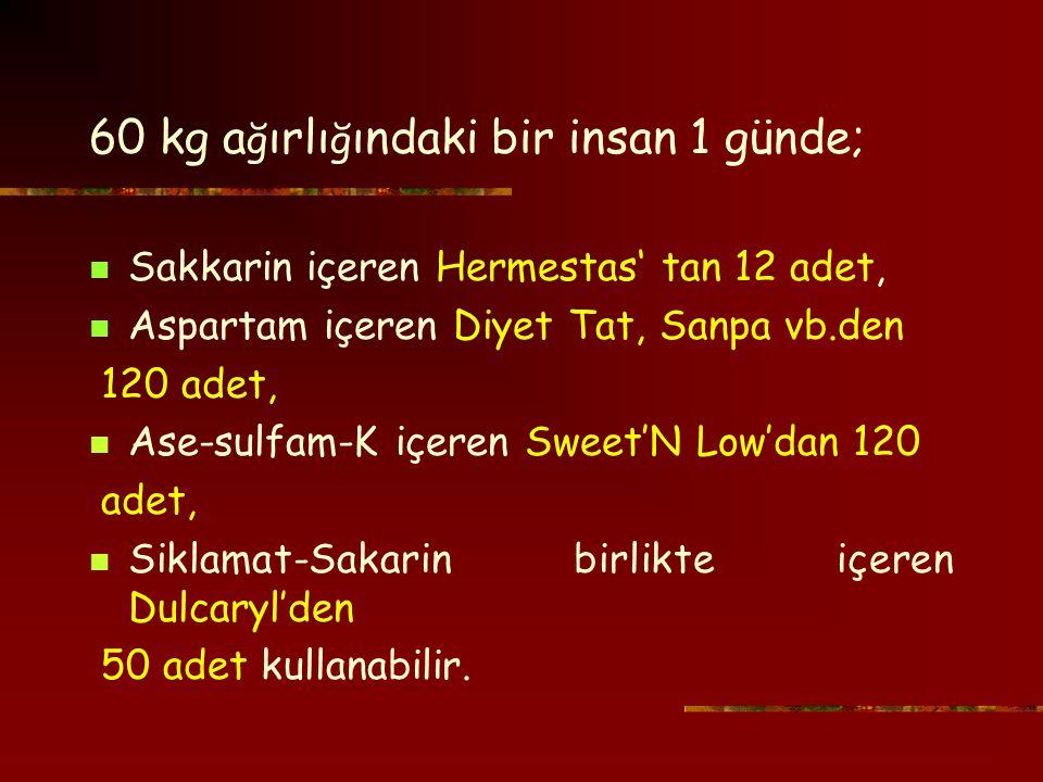 60 kg a ğ ırlı ğ ındaki bir insan 1 günde; Sakkarin içeren Hermestas' tan 12 adet, Aspartam içeren Diyet Tat, Sanpa vb.den 120 adet, Ase-sulfam-K içeren Sweet'N Low'dan 120 adet, Siklamat-Sakarin birlikte içeren Dulcaryl'den 50 adet kullanabilir.