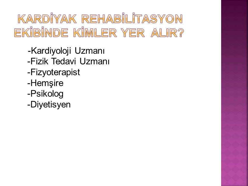 -Kardiyoloji Uzmanı -Fizik Tedavi Uzmanı -Fizyoterapist -Hemşire -Psikolog -Diyetisyen
