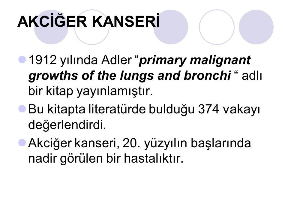"""AKCİĞER KANSERİ 1912 yılında Adler """"primary malignant growths of the lungs and bronchi """" adlı bir kitap yayınlamıştır. Bu kitapta literatürde bulduğu"""