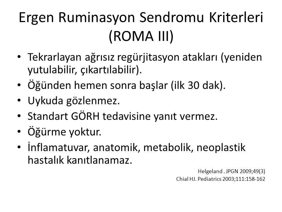 Ergen Ruminasyon Sendromu Kriterleri (ROMA III) Tekrarlayan ağrısız regürjitasyon atakları (yeniden yutulabilir, çıkartılabilir).