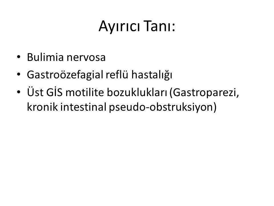 Ayırıcı Tanı: Bulimia nervosa Gastroözefagial reflü hastalığı Üst GİS motilite bozuklukları (Gastroparezi, kronik intestinal pseudo-obstruksiyon)
