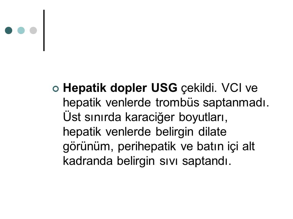 Hepatik dopler USG çekildi. VCI ve hepatik venlerde trombüs saptanmadı. Üst sınırda karaciğer boyutları, hepatik venlerde belirgin dilate görünüm, per