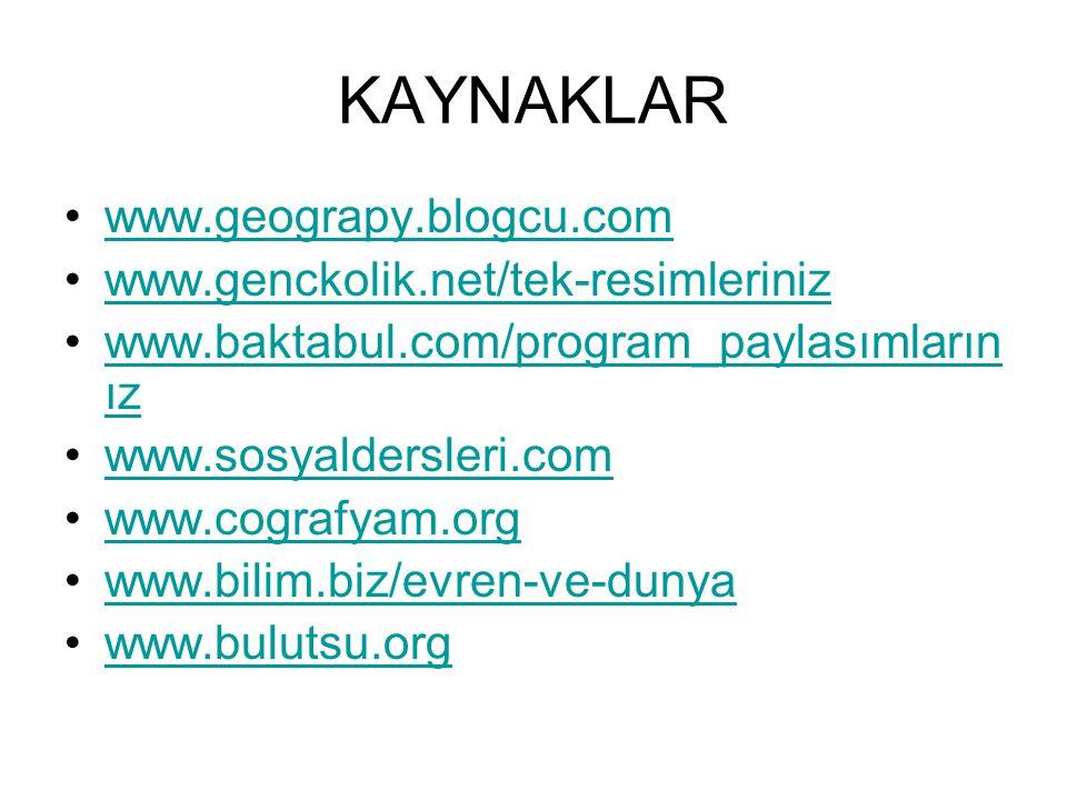 KAYNAKLAR www.geograpy.blogcu.com www.genckolik.net/tek-resimleriniz www.baktabul.com/program_paylasımların ızwww.baktabul.com/program_paylasımların ı