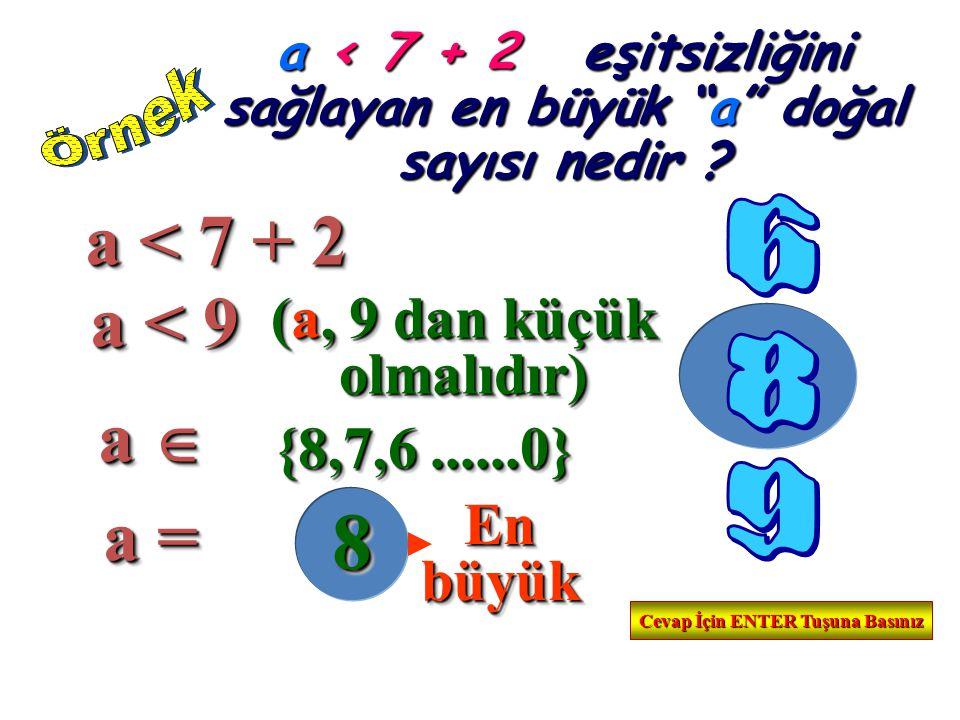 a < 7 + 2 e eşitsizliğini sağlayan en büyük a doğal sayısı nedir .
