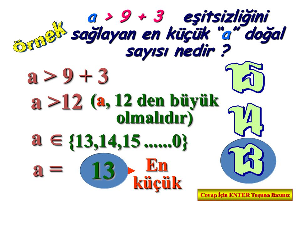 """a > 9 + 3 e eşitsizliğini sağlayan en küçük """"a"""" doğal sayısı nedir ? a > 9 + 3 a > 9 + 3 a >12 a >12 (a, 12 den büyük olmalıdır) (a, 12 den büyük olma"""