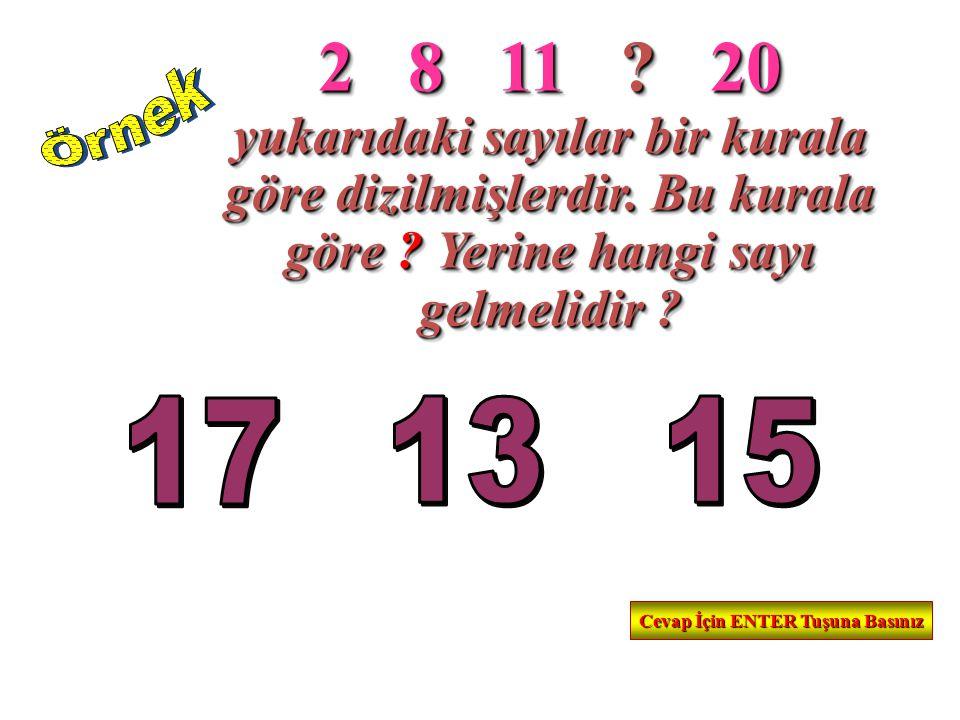 2 8 11 .20 yukarıdaki sayılar bir kurala göre dizilmişlerdir.