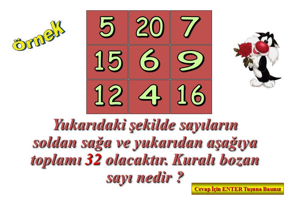 Yukarıdaki şekilde sayıların soldan sağa ve yukarıdan aşağıya toplamı 32 olacaktır. Kuralı bozan sayı nedir ? Yukarıdaki şekilde sayıların soldan sağa