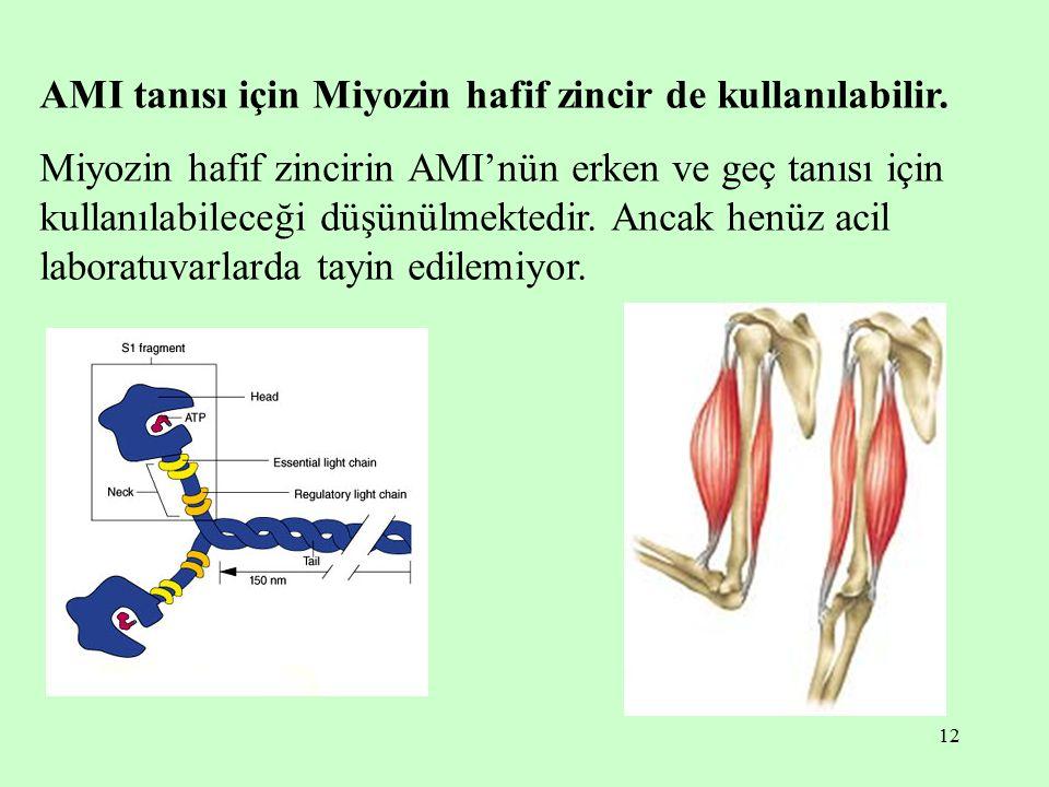 12 AMI tanısı için Miyozin hafif zincir de kullanılabilir.