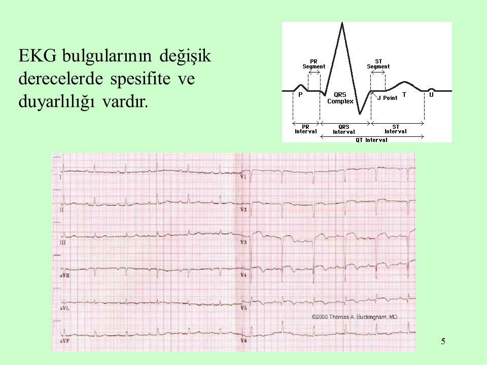 5 EKG bulgularının değişik derecelerde spesifite ve duyarlılığı vardır.