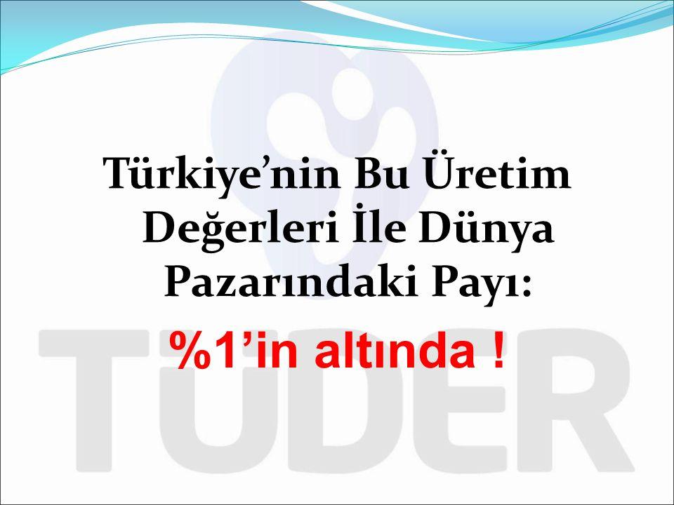 Türkiye'nin Bu Üretim Değerleri İle Dünya Pazarındaki Payı: %1'in altında !
