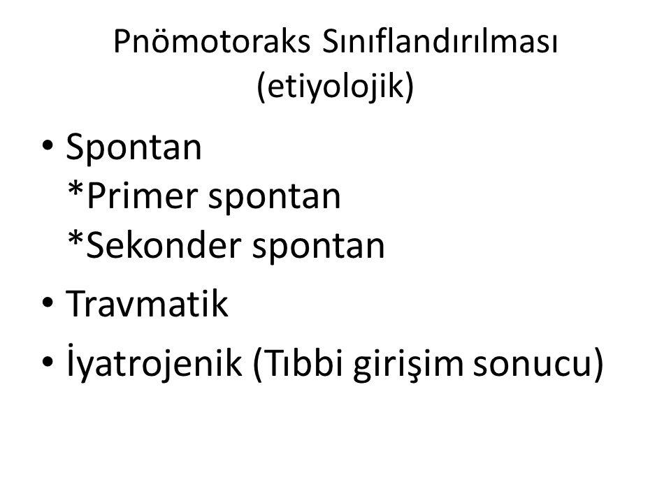 Pnömotoraks Sınıflandırılması (etiyolojik) Spontan *Primer spontan *Sekonder spontan Travmatik İyatrojenik (Tıbbi girişim sonucu)